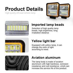 Image 5 - Foco cuadrado de 126W, luz de trabajo Led Cob, 12V, doble Color, blanco, 6000k, dorado, 3000K, impermeable para todoterreno, ATV, camión y motocicleta