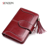 2018 New Arrival Wallet Female Small Purse Leather Short Wallet Women Zipper Pocket Tassel Blue Two Fold Coin Purse