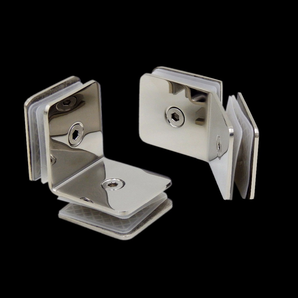 2Pcs/Lot Mirror Polished Shiny Stainless Steel 8-12MM Preminum Square Glass Clip Clips Clamp Shower Box