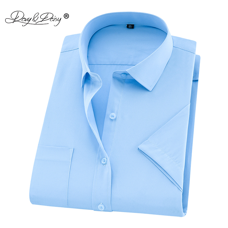 DAVYDAISY 2019 New Summer Plus Size Men Shirt Short Sleeved Solid Twill Business Shirt Male Clothes Size 5XL 6XL 7XL 8XL DS252