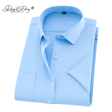 DAVYDAISY 2019 New Summer Plus Size Men Shirt Short Sleeved Solid Twill Business