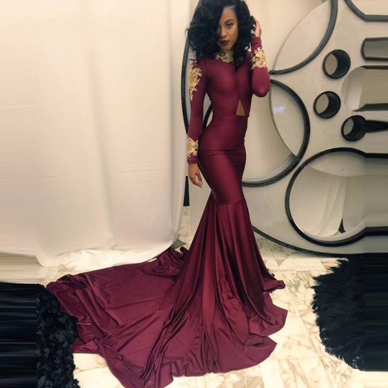 Gold Lace Beaded Black Girl Burgundy Prom Dresses 2017 High Neck Long  Sleeve Mermaid Long Train Party Evening Formal Gowns - Long Prom Dress Neck Gold Promotion-Shop For Promotional Long Prom