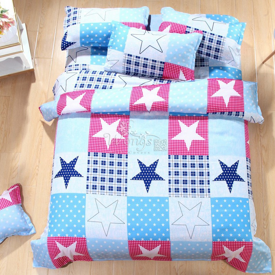 Patchwork bed sheets patterns - 2017 New 4pcs Cartoon Flowers Star Bedding Set Patchwork Quilt Duvet Cover Sets Bed Sheets