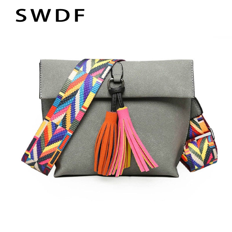 SWDF 2019 New Women Messenger Bag Tassel Crossbody Bags For