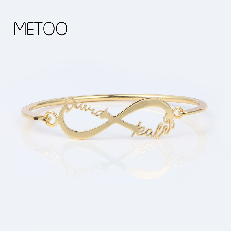 METOO 2019 Queen Femme Simple Design Lucky Numbers 8 Infinity Sign Bracelet Bangle Baby Women Copper Accessories Gift for Girls in Bangles from Jewelry Accessories