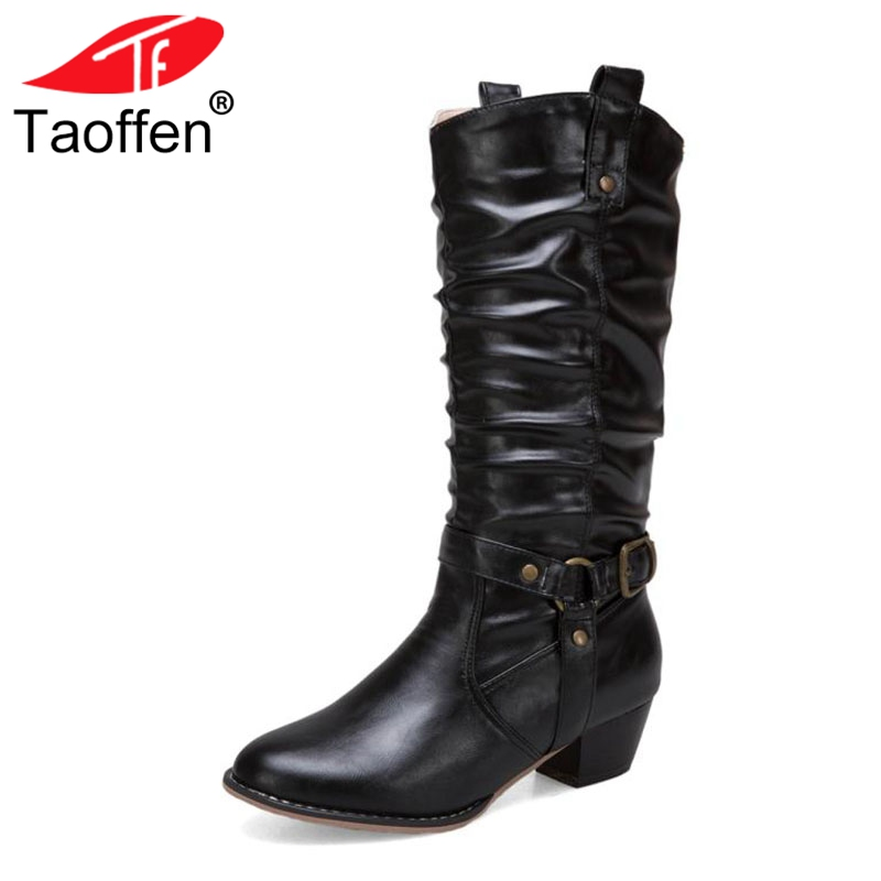 Taoffen Plus Size 34-50 Vintage Women High Heels Boots Buckle Round Toe Mid Calf Boots Party Warm Shoes Women Sexy Footwear taoffen women high heels shoes women thin heeled pumps round toe shoes women platform weeding party sexy footwear size 34 39