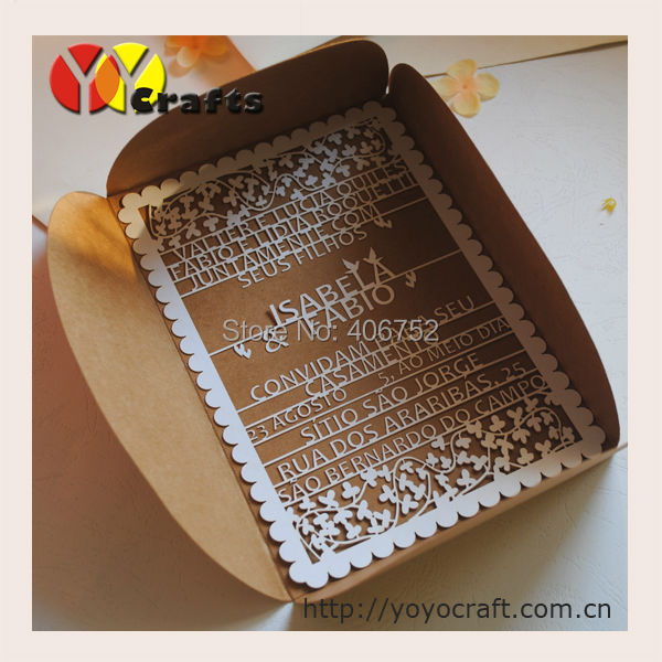 Kraft Paper Unique Folding Fabric Wedding Invitations Card With Laser Words In Cards From Home Garden On Aliexpress Alibaba Group
