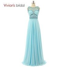 a3fd0024de284 Elegant Blue A-line Prom Dress Beading Chiffon Long Maxi Evening Party Dress  Vestido De