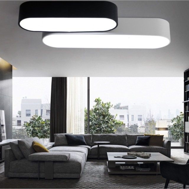 rectangle led ceiling lights bar modern design office ceiling light suface mount blackwhite housing - Simple Shapes Wall Design