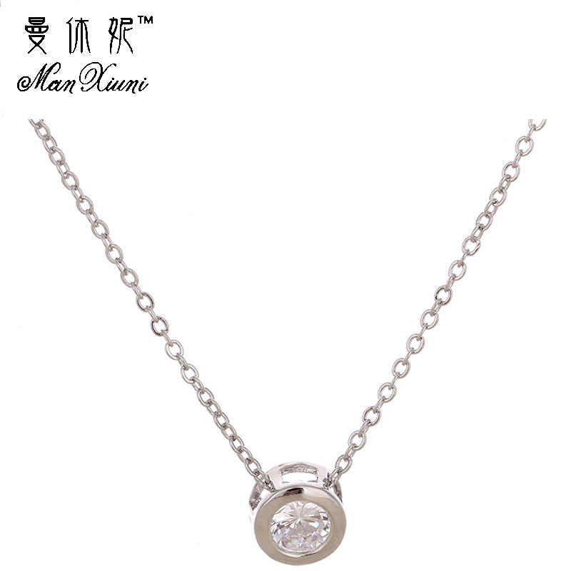 Manxiuni Trendy Silver Plated Chain Necklace Simple Choker Necklace Cubic zirconia Round Pendant Necklace For Women