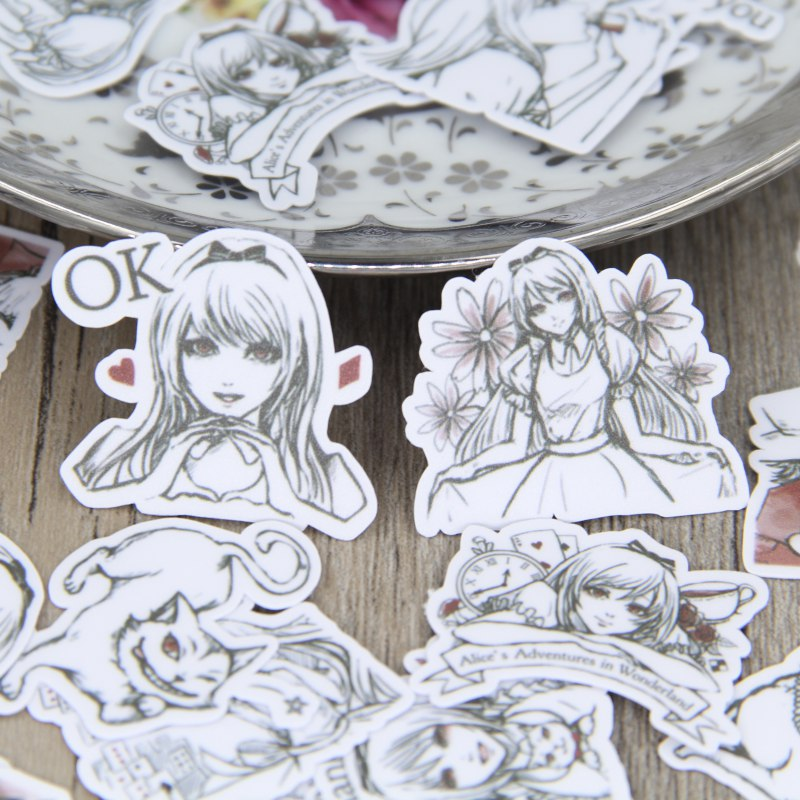 40pcs Creative Alice in Wonderland Sketch Handmade Scrapbooking Stickers Lady Decorative Sticker DIY Craft Diary Deco