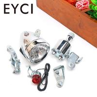 Motorized Taillight Headlight Kit Bicycle Friction Generator Dynamo Bike Head Tail Light LED Lamp MTB Mountain