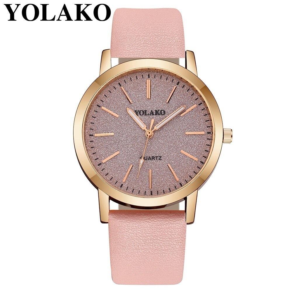 YOLAKO Fashion Women Simple Colorful Dial Wrist Watch Casual Luxury Leather Dress Watches Clock Relogio Feminino