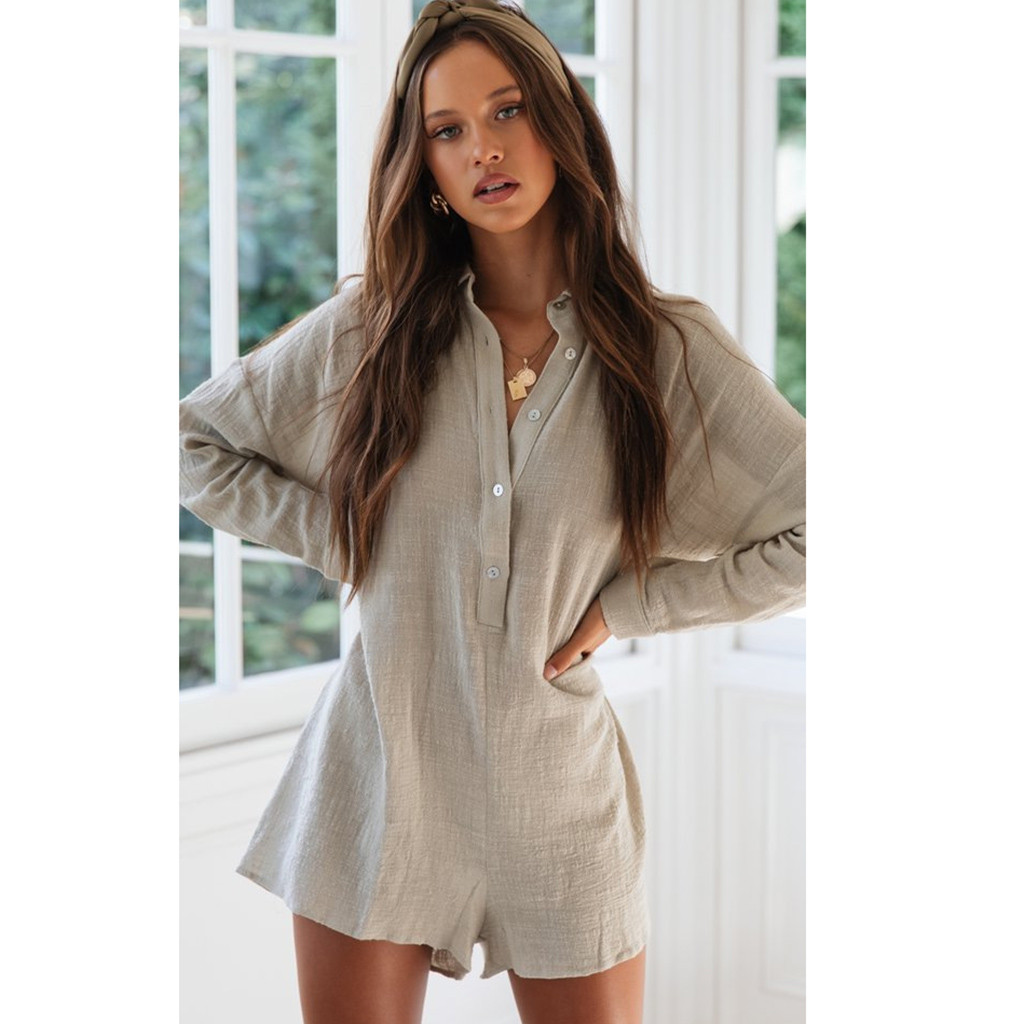 Women Beach Rompers Female 2019 Summer Solid Casual Short   Jumpsuit   Sexy Party Polyester Playsuit C30516