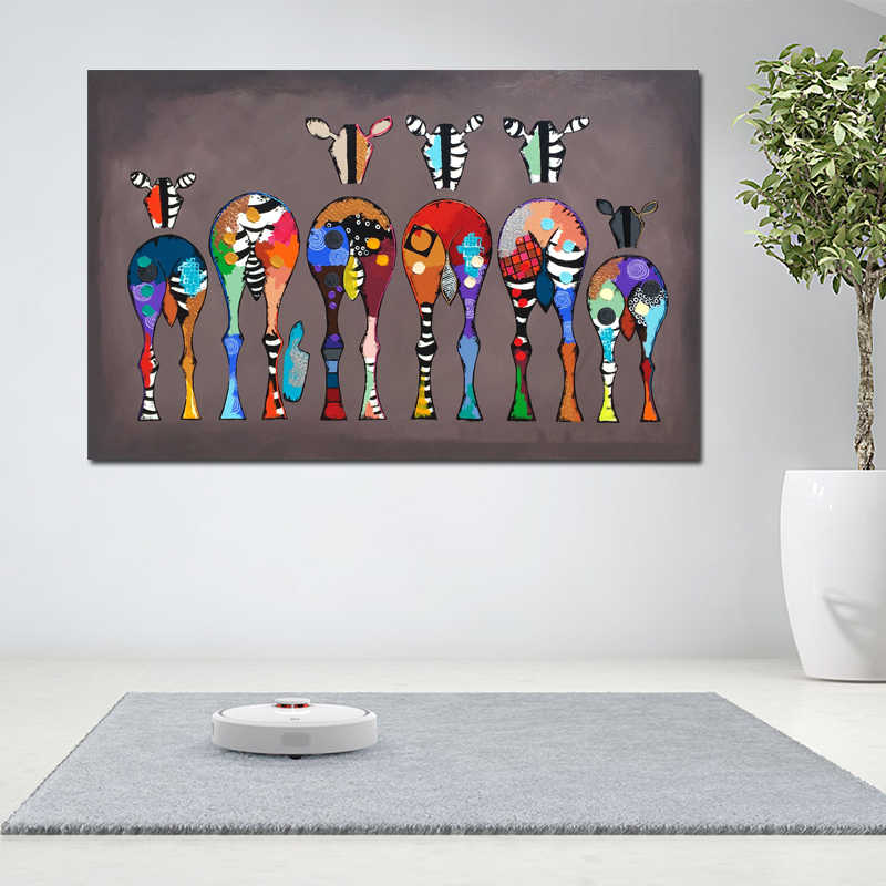SELFLESSLY Wall Poster Canvas Paintings For Living Room Abstract Colorful Animal Art Six Zebras Pictures Wall Art Prints Unframe