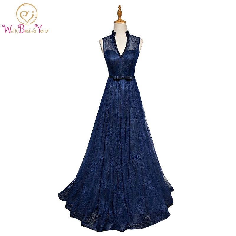 Walk Beside You Evening Gowns For Women Navy Blue V-neck With Pearl Lace Prom Dresses Long Dresses For Wedding Party