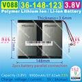 [V088] 3.8 V, 3.7 V, 9900 mAH, [36148123] NTC Polímero de íon de lítio/bateria Li-ion para tablet pc, GPS, telefone celular, palestrante, banco de potência