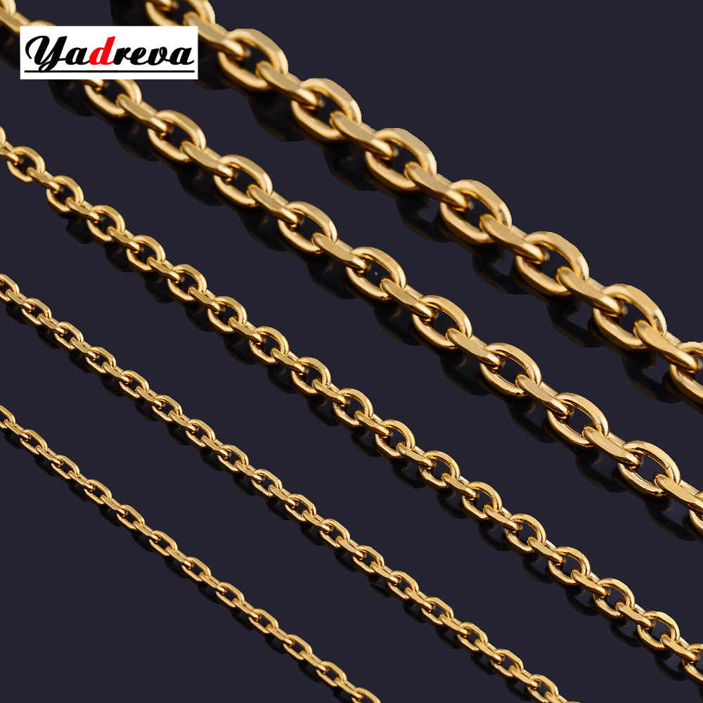Stainless Steel Gold Sliver Necklace Waterproof Men woman  Stainless Steel Jewelry 1.5mm/2.0mm/3.0mm/4.0mm/5.0mmWidthes Vari