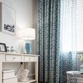 Einfache Hohe Schatten Vorhänge für Wohnzimmer Schlafzimmer Balkon Polyester Baumwolle Fenster Blau Vorhänge Tüll