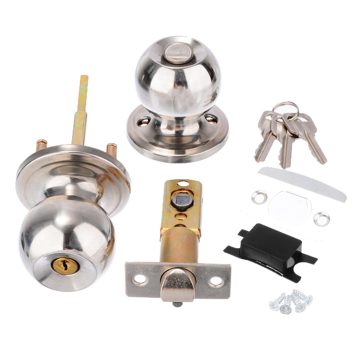 Mayitr Stainless Steel Round Ball Door Knobs Handles Passage Entrance Lock Latch Set For Home Bathroom Door Hardware in Doorknobs from Home Improvement