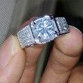 Виктория Вик Благородный мужские Украшения Серебро 925 Круглый Cut Имитация алмазный Обручальное Кольцо Sz 7-13 Бесплатная доставка подарок
