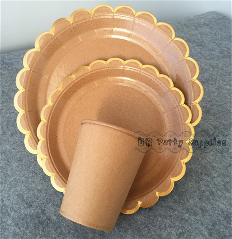 64 Sets Personalized Birthday Party Table Setting Kraft Scallop Paper Plates Brown Paper Cups Foil Gold Cake Dessert Dishes-in Disposable Party Tableware ... & 64 Sets Personalized Birthday Party Table Setting Kraft Scallop ...