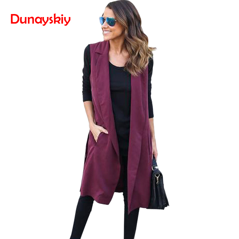 Dunayskiy Women Sleeveless Long Women Casual   Trench   Coat Fashion Streetwear Solid Pockets Open Stitch Outerwear   Trench   For Femme
