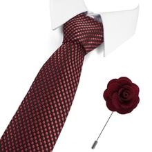 Hot sale 2019 wine red Polka Dot tie for mens 100% silk neckties designers fashion men ties 7.5cm Tie set(Necktie&brooch)