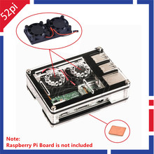 Big discount 52Pi New Sliced 9 Layers Acrylic Case Box With Dual Fan Double Cooling Fans Heatsink for Raspberry Pi 3/2 Model B/B+