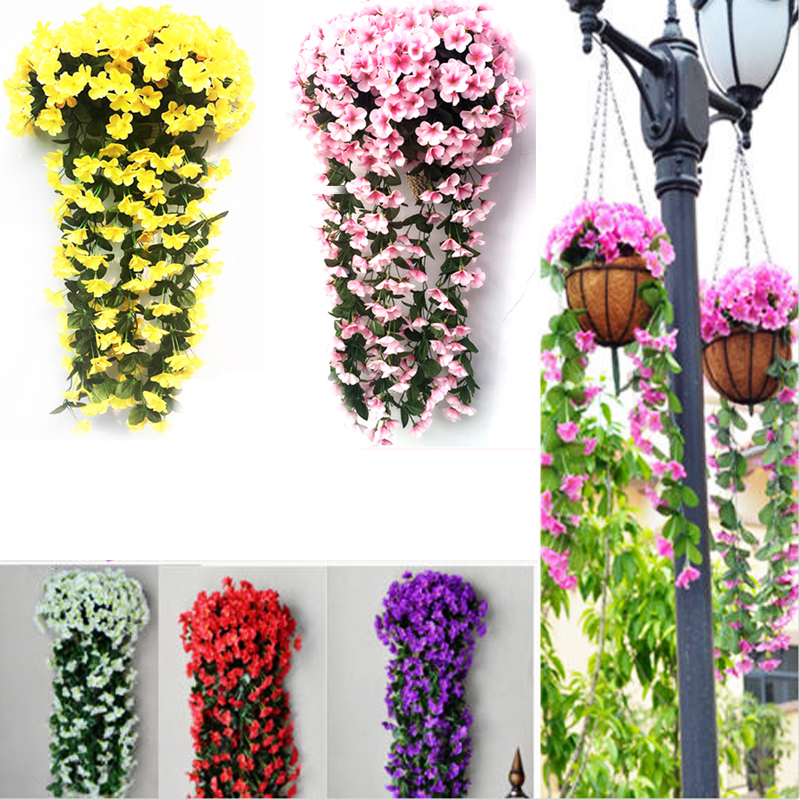 New Violet Artificial Flower Decoration Simulation Wall Hanging Basket Flower Orchid Silk Flower Vine P20