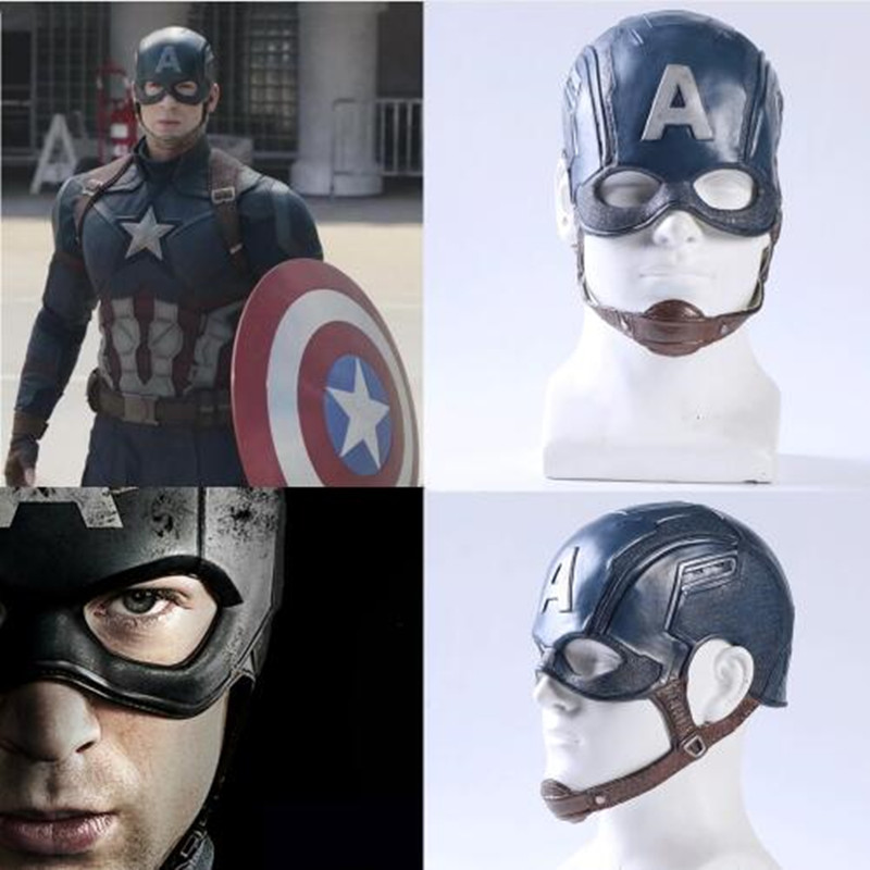 Movie Captain America 3 Civil War Captain AmericaMasque Mask Cosplay Prop Steven Rogers Superhero Latex Helmet Halloween Party image