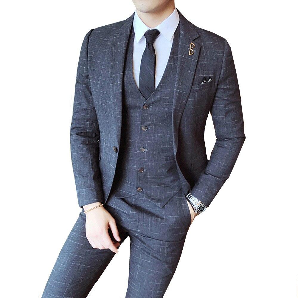 Gentleman Vintage Suit Pinstripe Classic Decent Men Suit Wedding Groom Party Business Casual Slim Fit Navy Red Grey 3 Pieces Set