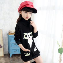 2016 Girl Hoodies Clothing Child Sweater Cartoon Cat Thickened Long Sleeve Tops Sweater Kids Wear Outwear for  Short Dress