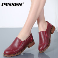 PINSEN 2018 Women Flat Shoes Round Toe Genuine Leather Shoes Woman Slip On Comfortable Oxford Shoes