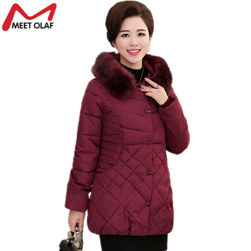 2017 Women Autumn Winter Warm Jackets and Coats Middle-Aged Female Long Cotton-padded Plus Size 4XL Parkas For Mother Gift Y1008 plus size women cotton jackets autumn winter long slim warm parkas down woman coats female street jackets coats outwears