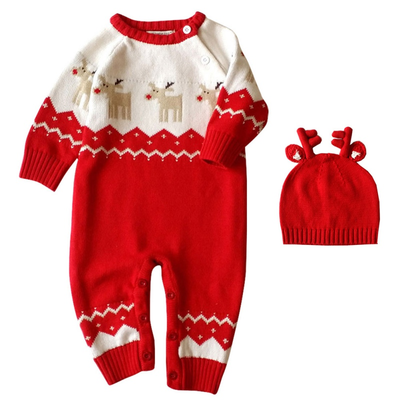New Baby Girls Boys Winter Warm Long Sleeve Rompers With Hat Newborn Baby Christmas Knitted Clothes Deer Pattern Rompers