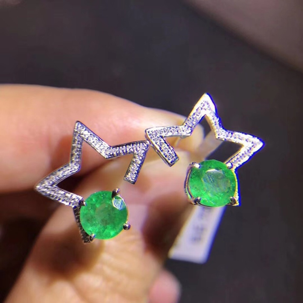 Naural emerald stud earring 925 sterling silver Free shipping For men or women  Star styleNaural emerald stud earring 925 sterling silver Free shipping For men or women  Star style
