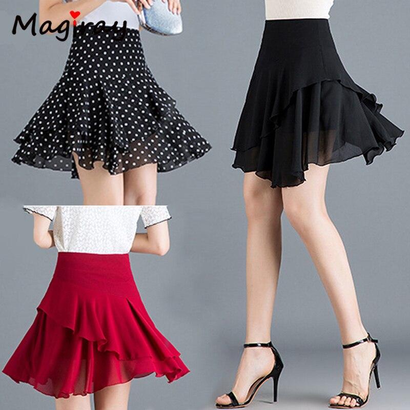 Ruffle Pleated Chiffon Skirt Women Wrap Korean High Waist A Line Mini Skater Skirt Sexy Red Black Polka Dot Plus Size Skirt