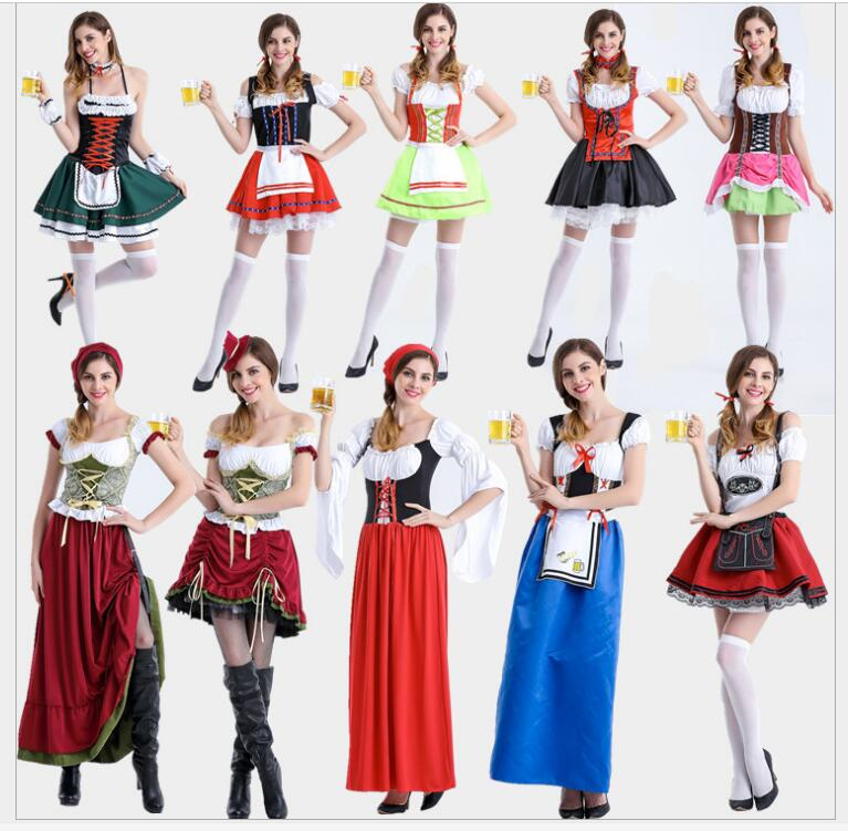 Halloween Party Beer Maid Costume Women Oktoberfest Dress German Bavarian Ethnic Trachten Beer Dirndl Costume