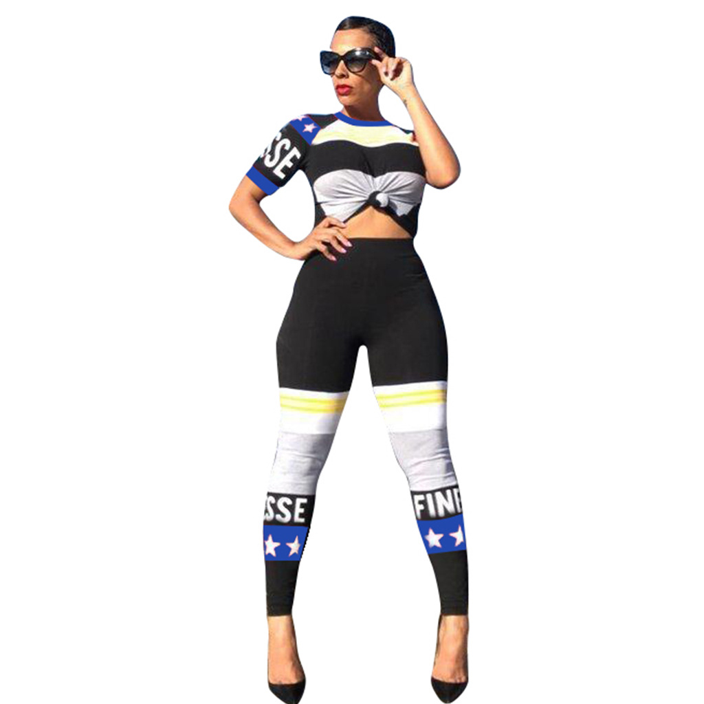 Conjuntos Femininos Roupas Women Fitness 2 Piece Racing Suits Tops Leggings Letter Print Workout Tracksuits Set Trousers Suits