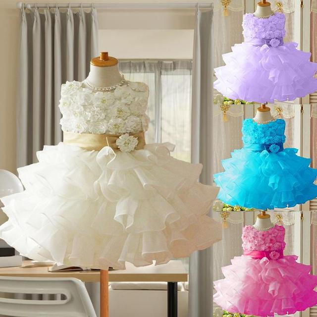 Nuevo 2017 de la Muchacha de Flor Bautizo Vestidos de Primera Comunión Wedding Party Vestido Del Desfile Del Bebé y Del Niño Niño Ropa de Dama de honor