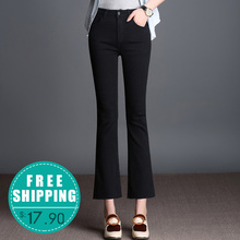FOKINOFE Black Elastic Boot Cut Ankle Length Woman Jeans Torn Edges Passels Boot Cut Jeans 2017 Spring Plus Size Woman