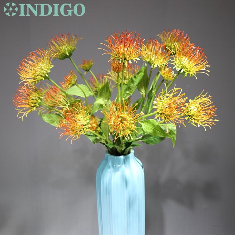 INDIGO-Sunset Leucospermum Cordifolium (5flower head/stem) drangea Nutans Flower Wedding Floral Event Party Free Shipping