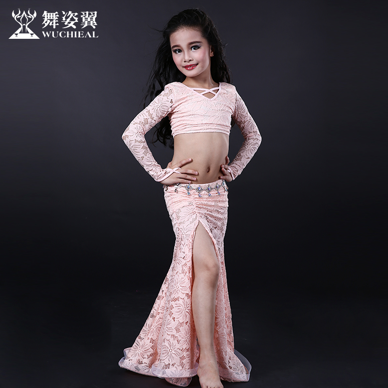 2016 Hot Sale Cotton Bellydance Wuchieal Brand 2018 New Kid Girls Belly Dance Costumes Top+skirt Suits For Oriental Rt087