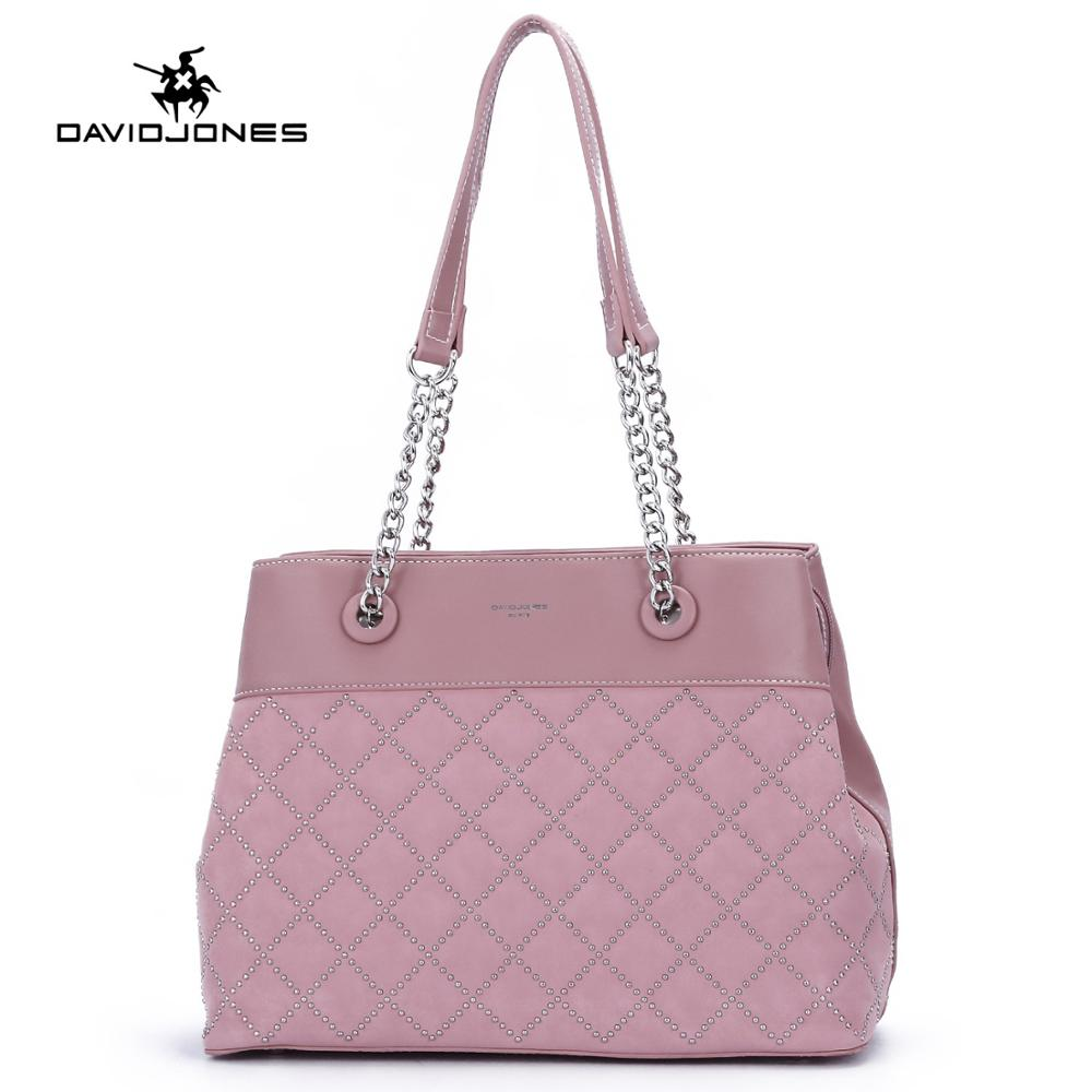 DAVIDJONES women shoulder bags pu leather female travle bag big lady rivet top handle bags girl