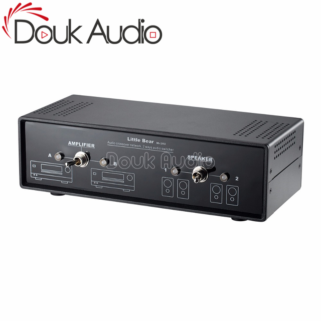 Douk Audio 2 Way Passive Audio Crossover Stereo Amplifier Selector Speaker Switch Splitter