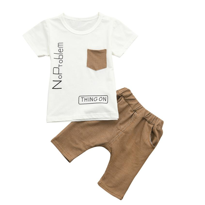 2018 Hot Sale Toddler Baby Boys Short Sleeve Letter Print Tops T-shirt Stripe Pants Set Outfit Comfortable And Breathable 6.13