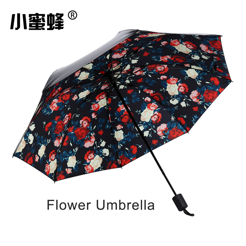 Flower Umbrella Women Sunny and Rainy Fashion Folding Paraguas Small sun  Parasol Umbrella rain women 75d05f9041a