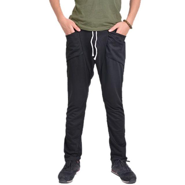 Mens Calças Ajuste Regular dos homens Harem Baggy Trousers Calças Bag Calças Preto/Cinza Escuro 25