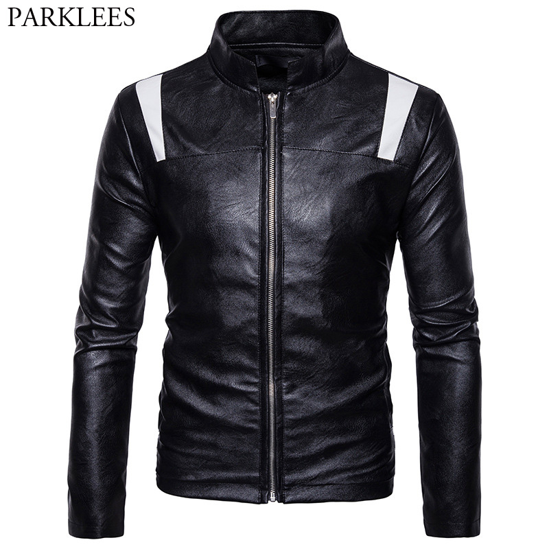Patchwork Motorcycle Leather Jacket Men 2017 Fashion Casual Stand Collar Zipepr Mens Winter PU Leather Jacket Veste Cuir Homme
